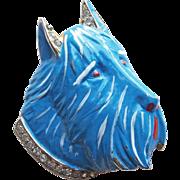 Fabulous DEJA Reja Dog Vintage Estate Fur Clip Brooch - Figural Enamel Painted with Rhinestones