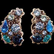 Fabulous LISNER Signed Shades of Blue Rhinestone Clip Earrings