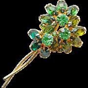 Gorgeous Green Rhinestone Vintage Brooch - Open Backed Stones