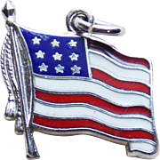 Wells Sterling & Enamel American Flag Vintage Charm - United States of America USA
