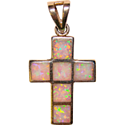 Gorgeous STERLING & OPAL Inlay Small Cross Pendant
