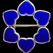 Sterling & Blue Enamel Signed Denmark Vintage Heart Brooch