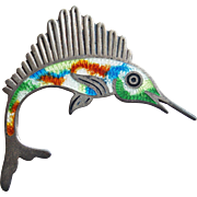 Sterling & Enamel Signed JF Mexican Fish Vintage Brooch - Swordfish Sailfish