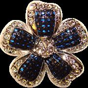 Fabulous NINA RICCI Avon Invisible Set Sapphire Lucite & Rhinestone Brooch