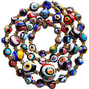 Fabulous Millefiori Glass Bead Vintage Estate Necklace - Italian Beads
