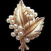 Trifari Signed Leaf & Berry Faux Pearl Vintage Brooch