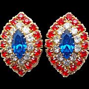 Patriotic Red Clear & Blue Rhinestone Vintage Earrings