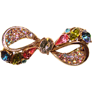 Fabulous HOLLYCRAFT Signed Colored Rhinestone BOW Brooch