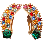 Gorgeous CORO Signed Color Rhinestone Vintage Clip Earrings