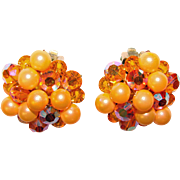 Fabulous ORANGE Aurora Crystal & Faux Pearl Vintage Clip Earrings