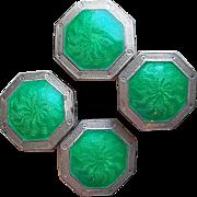 Art Deco Sterling & Green Enamel Cufflinks