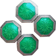 Art Deco Sterling & Green Enamel Cufflinks