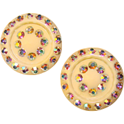 Fabulous Early Plastic & Aurora Rhinestone Clip Earrings