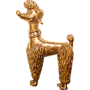 Super Cute Vintage POODLE with Rhinestone Collar Brooch