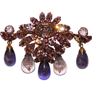 Fabulous REGENCY Signed Purple Rhinestone & Glass Dangles Brooch Set