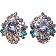 Fabulous D&E JULIANA Light Blue & Teal Rhinestone Clip Earrings