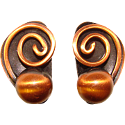 Awesome COPPER Vintage Modernist Swirl Design Clip Earrings