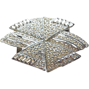Art Deco Era Rhinestone Belt Buckle - Geometric Design