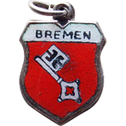 800 Silver & Enamel Bremen Vintage Estate Charm - Souvenir of Germany