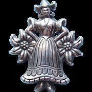 Coro Sterling Dutch Girl Vintage Brooch