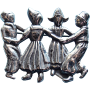 Lang Sterling Dutch Children Playing Vintage Brooch