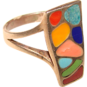 Fabulous STERLING & Multi Color Inlay Vintage RING
