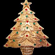 Gorgeous CHRISTMAS TREE Vintage Rhinestone Brooch