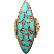 Fabulous STERLING & TURQUOISE Inlay Vintage Estate Ring