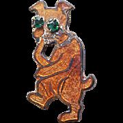 Art Deco Era Enamel Dog Brooch
