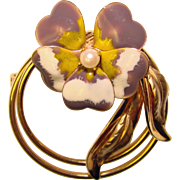 Gorgeous ENAMELED PANSY Cultured Pearl Signed Gold Filled Brooch
