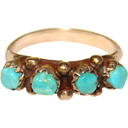 Gorgeous STERLING Turquoise Stones Vintage Band Ring