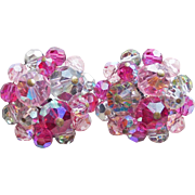 Gorgeous Vendome Signed Pink Aurora Crystal Vintage Earrings
