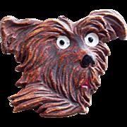 Scotty Dog Terrier Face Vintage Brooch