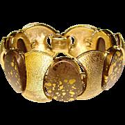 Awesome CORO Signed Gold Flecked Thermoset Stones Bracelet