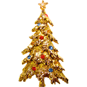 Fabulous ART Signed Vintage CHRISTMAS TREE Rhinestone Enamel Estate Pin Brooch
