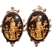 Awesome ASIAN Inspired Black Glass Clip Earrings