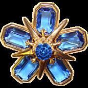 Gorgeous BLUE GLASS & Rhinestone Vintage Brooch