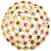 Fabulous Flower POM POM Vintage Rhinestone Brooch