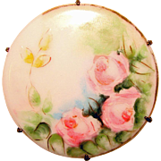 Gorgeous Antique PINK ROSES Handpainted Porcelain Brooch