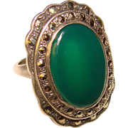 Fabulous ART DECO Sterling Chrysoprase & Marcasite Vintage Ring - Signed UNCAS