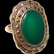 Fabulous ART DECO Sterling Chrysoprase & Marcasite Vintage Ring - Signed UNCAS