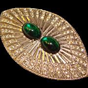 Fabulous ART DECO Huge Green Glass & Rhinestone Brooch