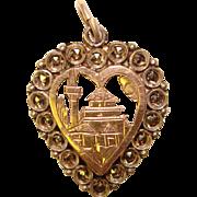 Gorgeous STERLING & Marcasite Vintage Heart Shaped Pendant