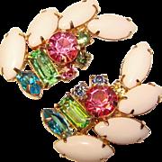 Fabulous MILK GLASS & Colored Rhinestone Vintage Clip Earrings