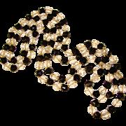 Fabulous FLAPPER Art Deco Black & Clear Glass Vintage Necklace