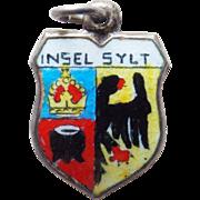 800 Silver & Enamel Insel Sylt Vintage Estate Charm - Souvenir of Germany