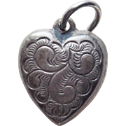 1940s Sterling Mini Puffy Heart Vintage Charm - Double Sided