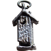 WWII Sterling KILROY WAS HERE Outhouse Mechanical 1940s Vintage Sweetheart Charm