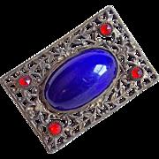 Art Deco to Edwardian Era Cobalt Blue & Red Stones Filigree Brooch