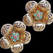 Signed Coro Flower Rhinestone Vintage Earrings - 1940s Screw Back